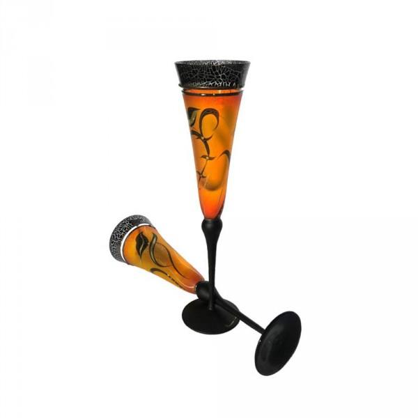 Sektgläser im 2er-Set gelb-orange