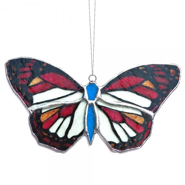 Fensterbild Schmetterling blau-rot