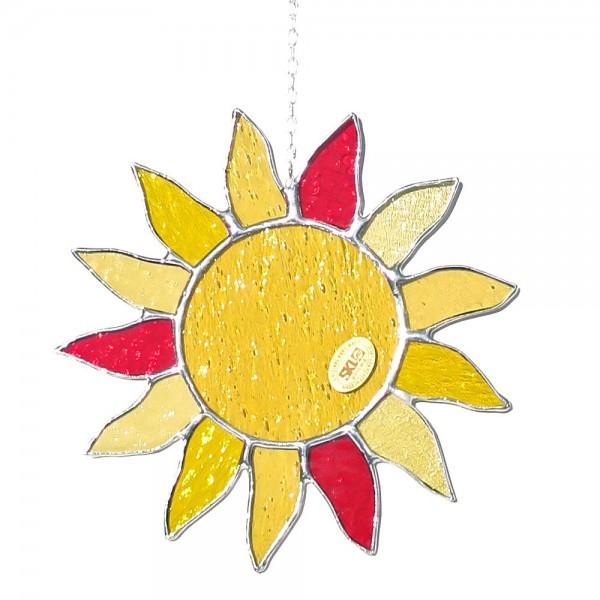 Fensterbild Sonne gelb-rot