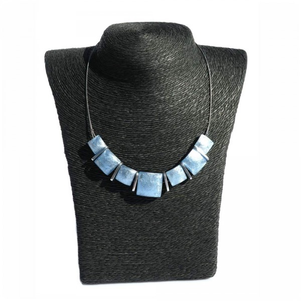 Halskette Quadrat blau