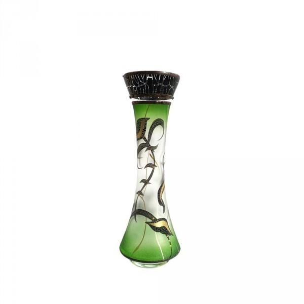 Vase Grün 21cm Mit Metall Verzierung