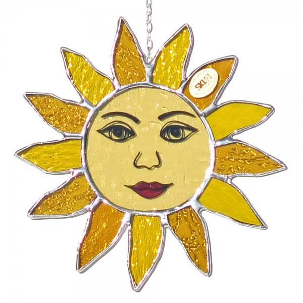 Fensterbild Sonne gelb mit Gesicht