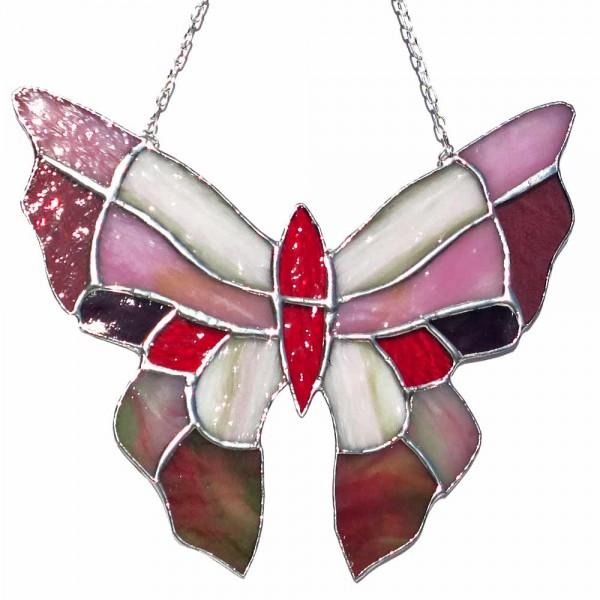 Fensterbild Schmetterling rot-weiß groß